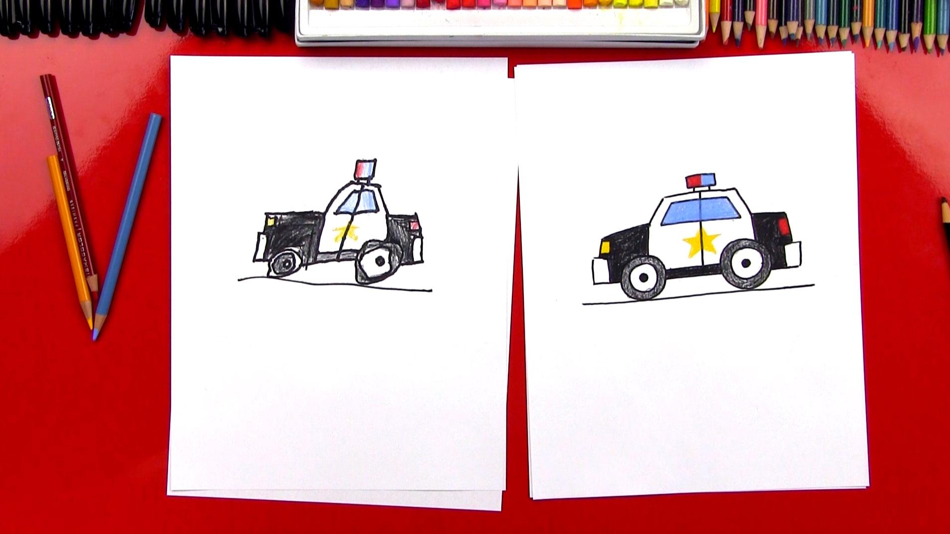 How To Draw A Cartoon Police Car Art For Kids Hub