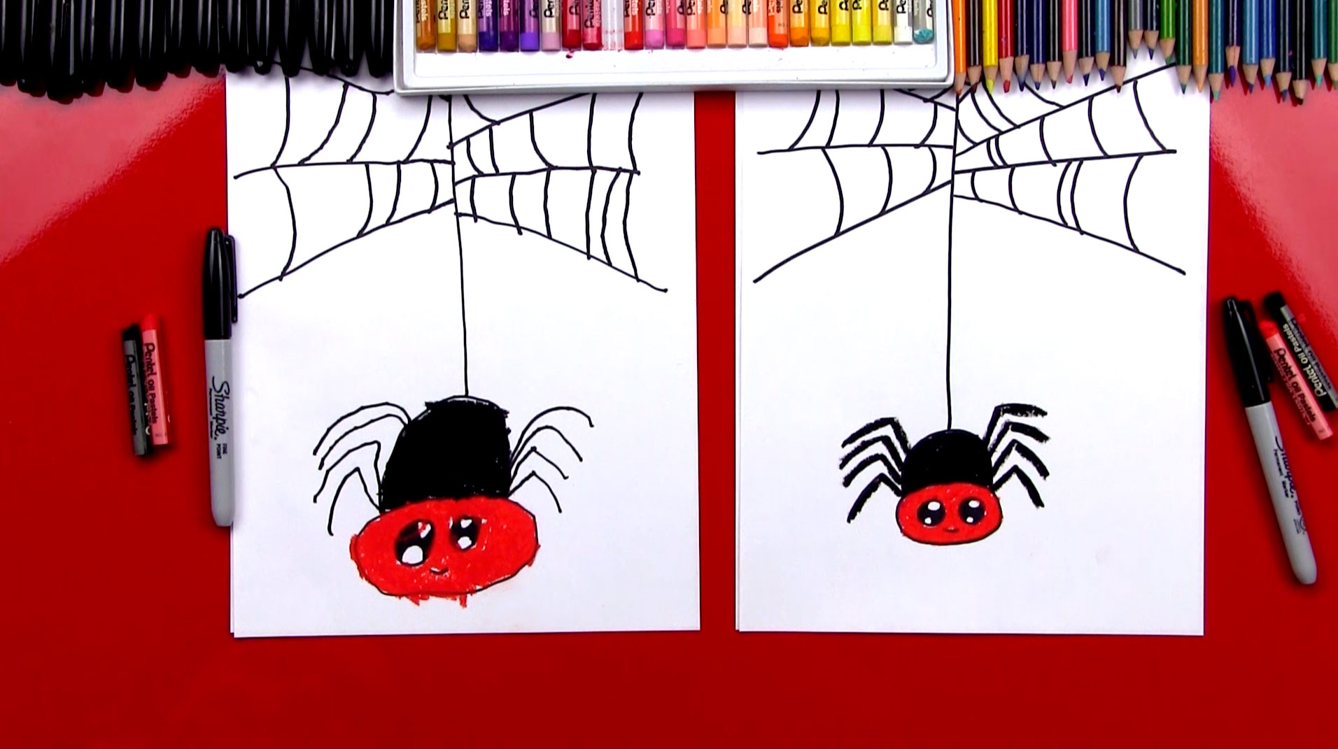 How To Draw A Cartoon Spider Art For Kids Hub
