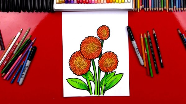 How To Draw A Dahlia Pom Pom Art For Kids Hub