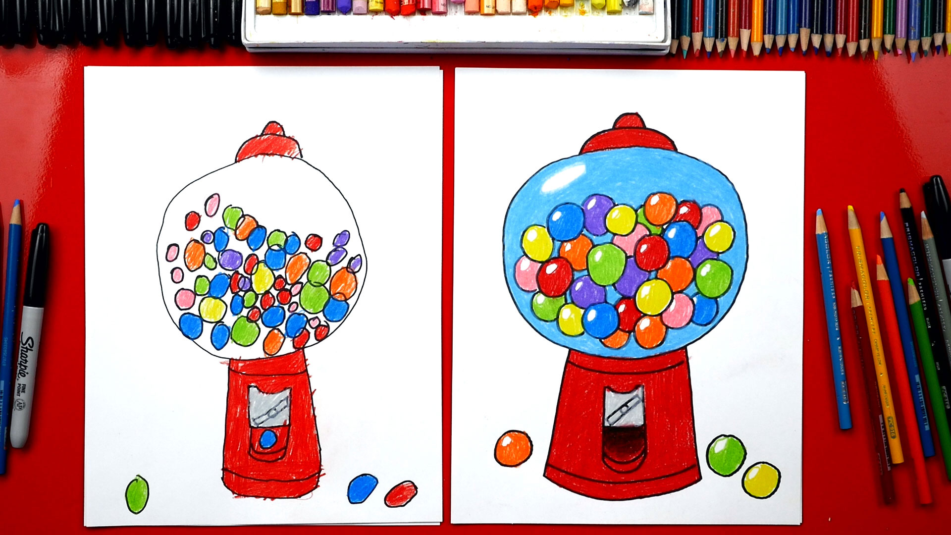 How To Draw A Gumball Machine