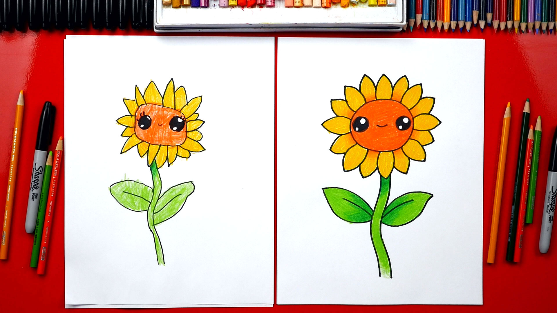#kidsdrawing #easydrawings #drawinginspiration #howtodraw #fundrawing #freeprintables. How To Draw A Sunflower - Art For Kids Hub