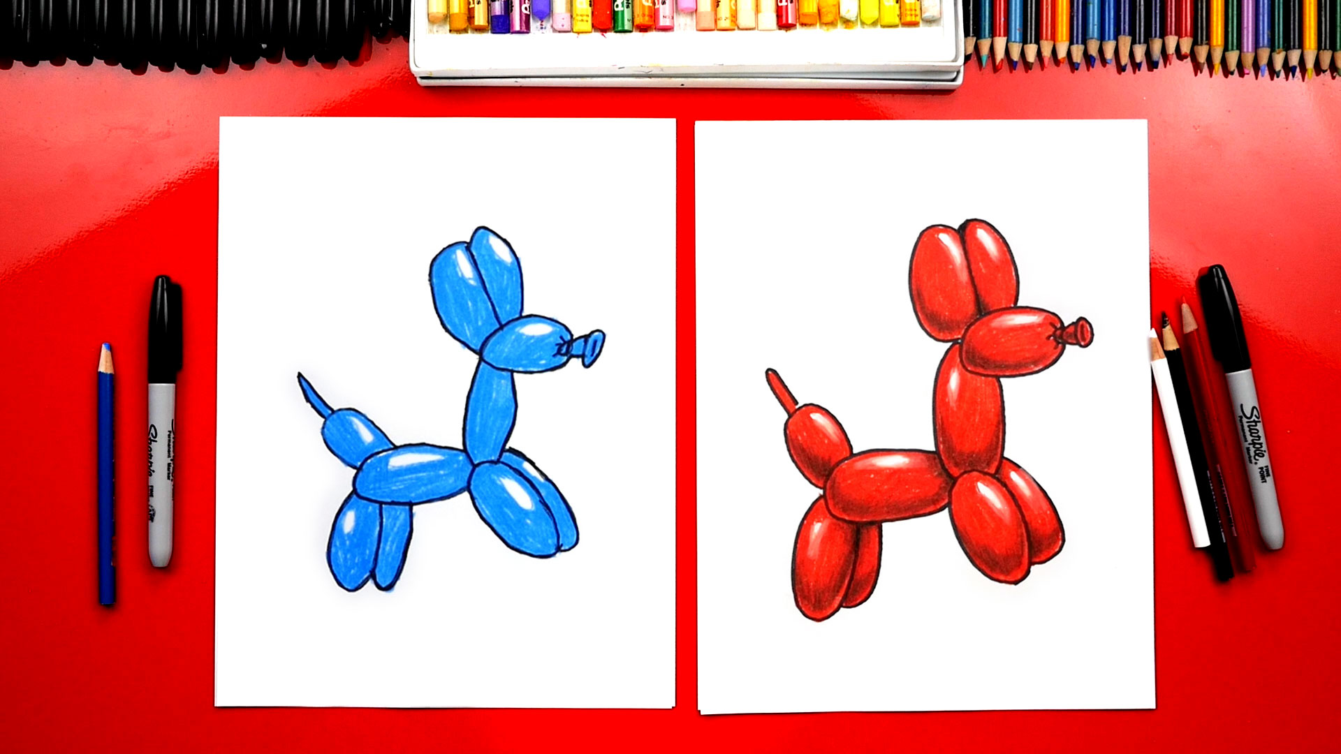 How To Draw A Dog Balloon Animal Art For Kids Hub
