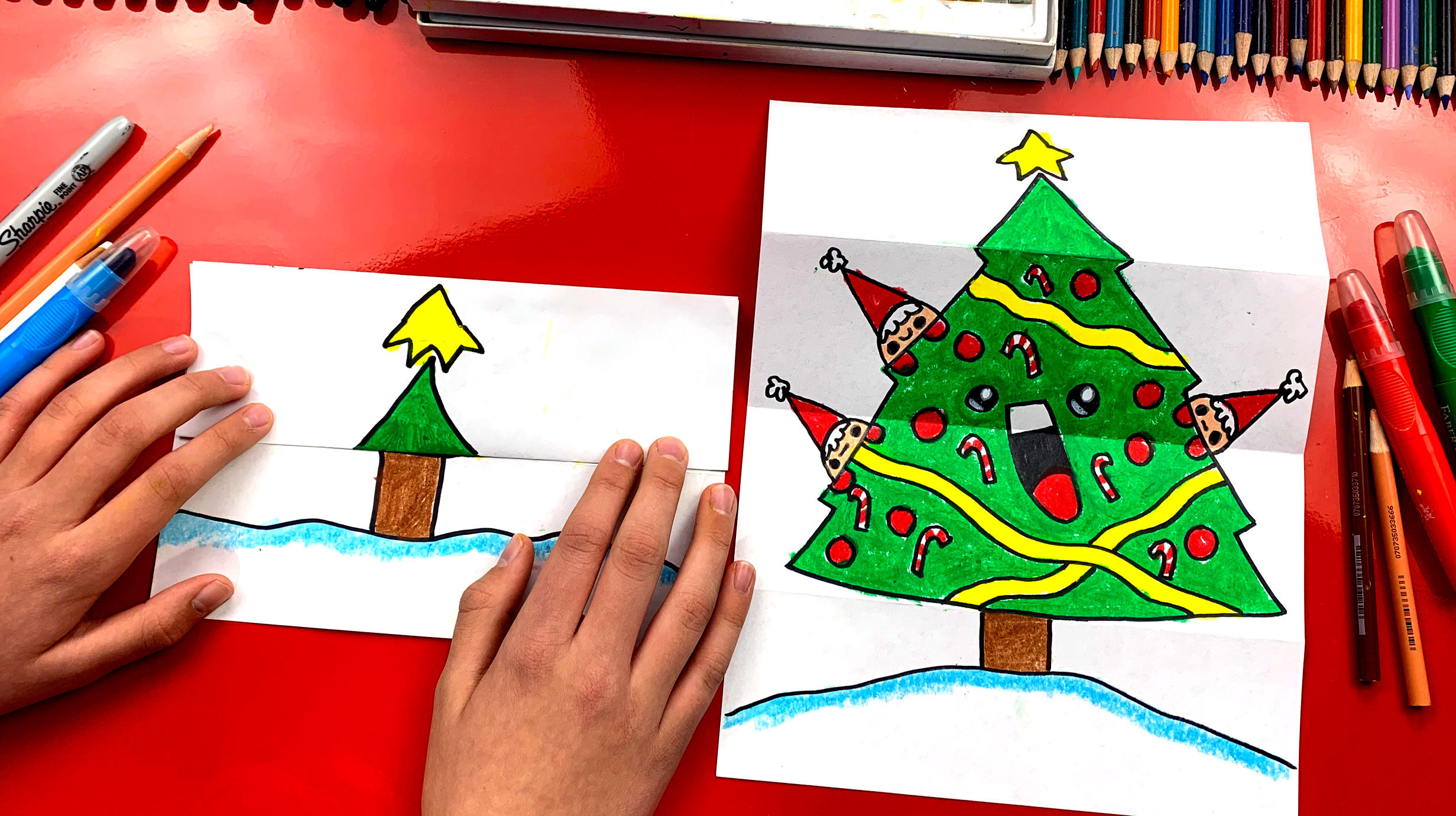 How To Draw A Christmas Tree Folding Surprise Art For