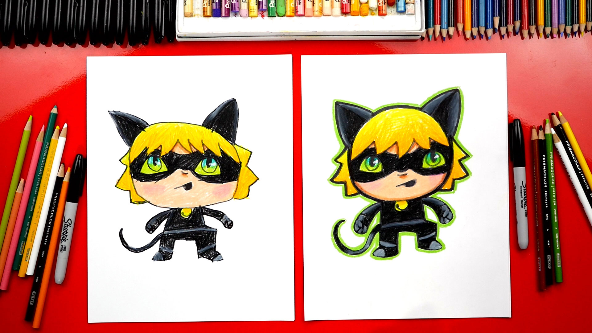 Happy family happy family in continuous line art drawing style. How To Draw Cat Noir From Miraculous Ladybug - Art For