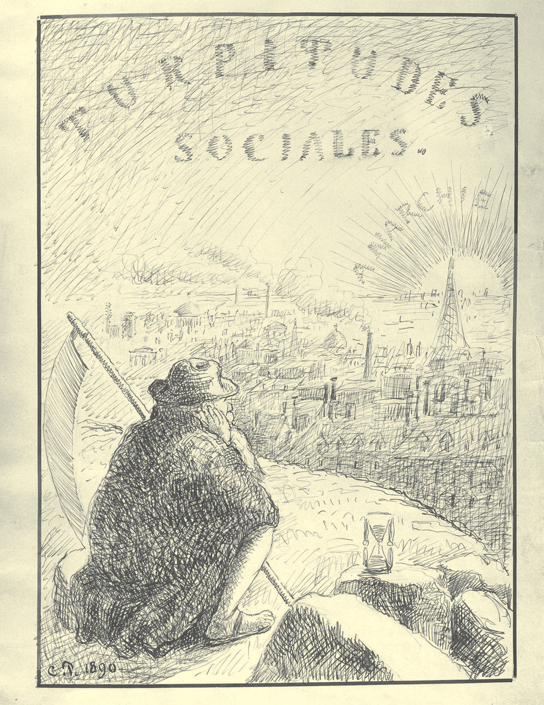 """Camille Pissarro, Turpitudes sociales (Social Disgraces) title page, 1889–90, ink and pencil on paper, 12 1⁄4 × 9 1⁄2"""". From Turpitudes sociales (Social Disgraces), 1889–90."""
