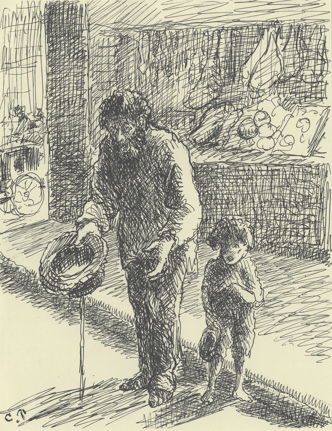 """Camille Pissarro, Le mendiant (The Beggar), 1889–90, ink and pencil on paper, 12 1⁄4 × 9 1⁄2"""". From Turpitudes sociales (Social Disgraces), 1889–90."""