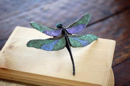 bronze dragonfly with custom painting
