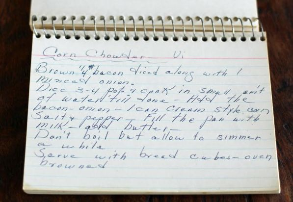 Grandma Vi's Corn Chowder Handwritten Recipe | www.artfuldishes.com