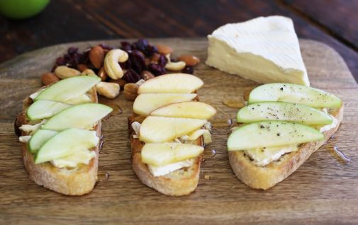 Apple, Brie and Honey Bruschetta Board and Nuts