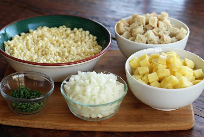 Grandma's Corn Chowder with Potatoes and Bacon - the Prepped Ingredients | www.artfuldishes.com