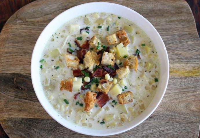Grandma's Corn Chowder with Potatoes and Bacon, Chives and Croutons | www.artfuldishes.com