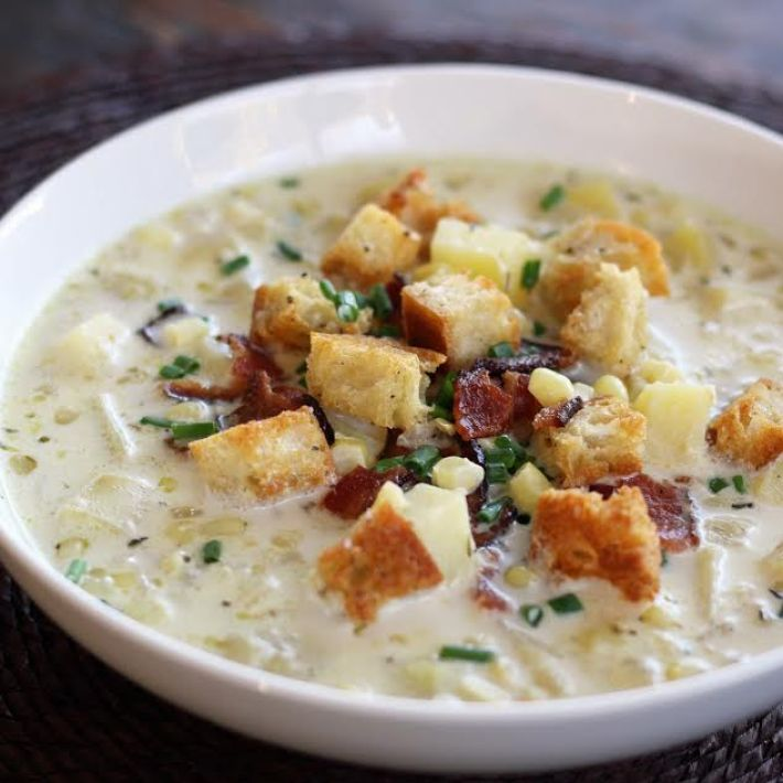 Grandma's Corn Chowder with Potatoes and Bacon Chives and Croutons   www.artfuldishes.com
