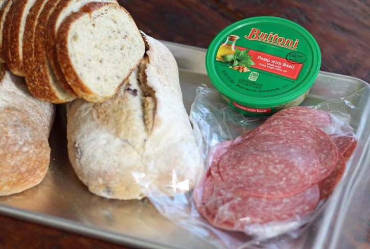 Ingredients for Salami Pesto Bruschetta | www.artfuldishes.com