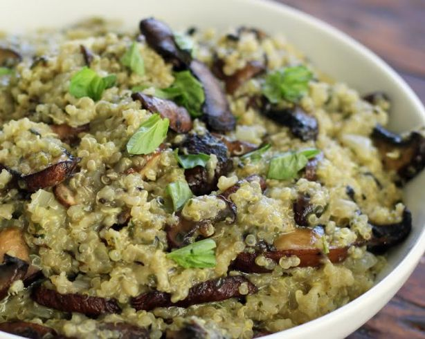 Pesto Quinoa with Roasted Mushrooms Artful Dishes