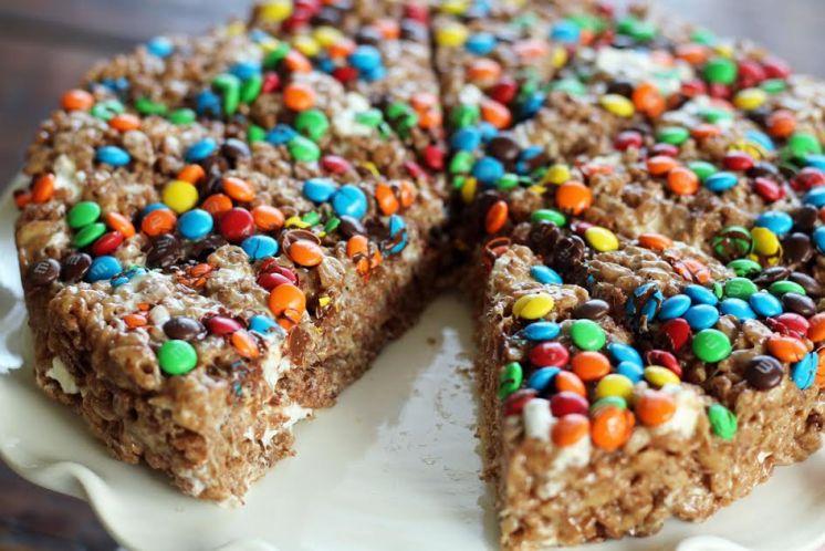 A Slice of Peanut Butter Chocolate Krispie Treat Cake Artful Dishes