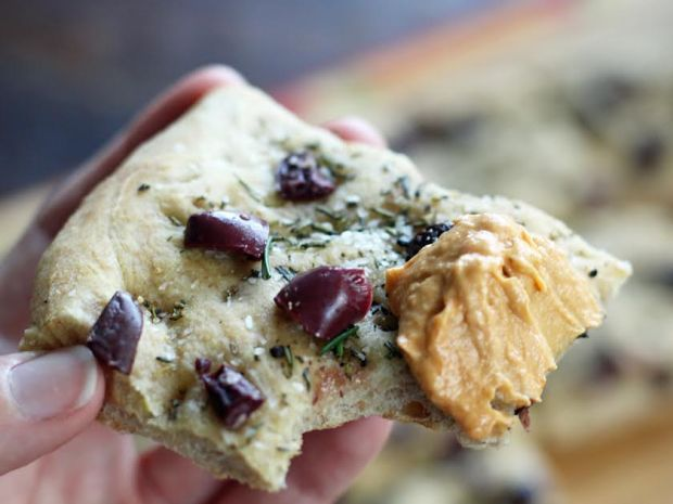 A Slice of Focaccia with Olives and Rosemary with Hummus | artfuldishes.com