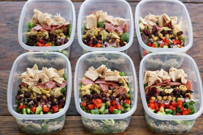 Meal Planning - Italian Chopped Salads Adding the Ingredients | artfuldishes.com