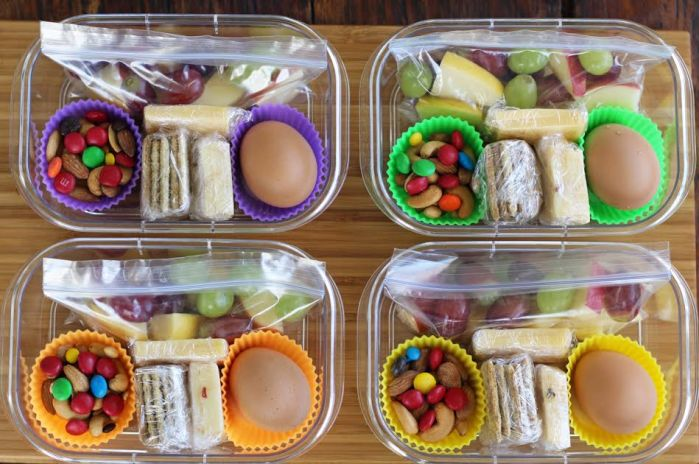 The Completed Protein Box Lunches with Fruit Nuts (and Chocolate) Cheese Crackers and Hard Boiled Egg | artfuldishes.com