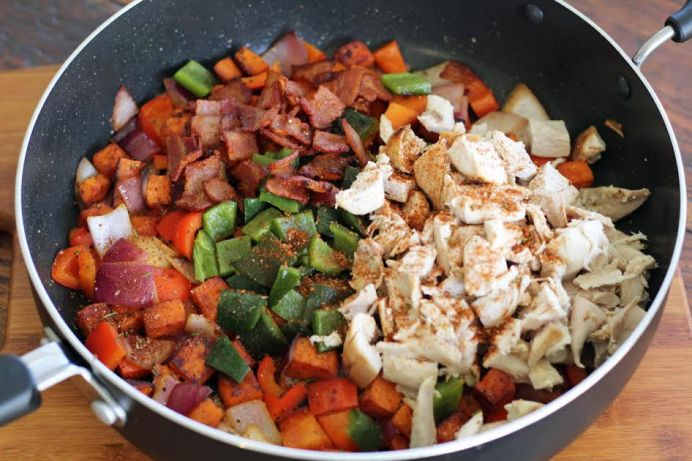 Sauting the Chicken and Sweet Potato Hash Ingredients | artfuldishes.com
