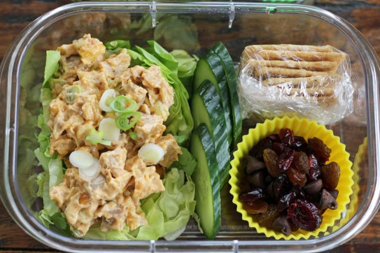 Chicken Salad Protein Lunch Box Ready to Go | artfuldishes.com