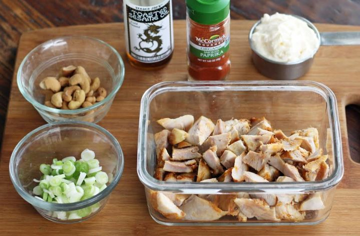 Chicken Salad Ingredients for Protein Boxes with Cashews and Green Onions | artfuldishes.com