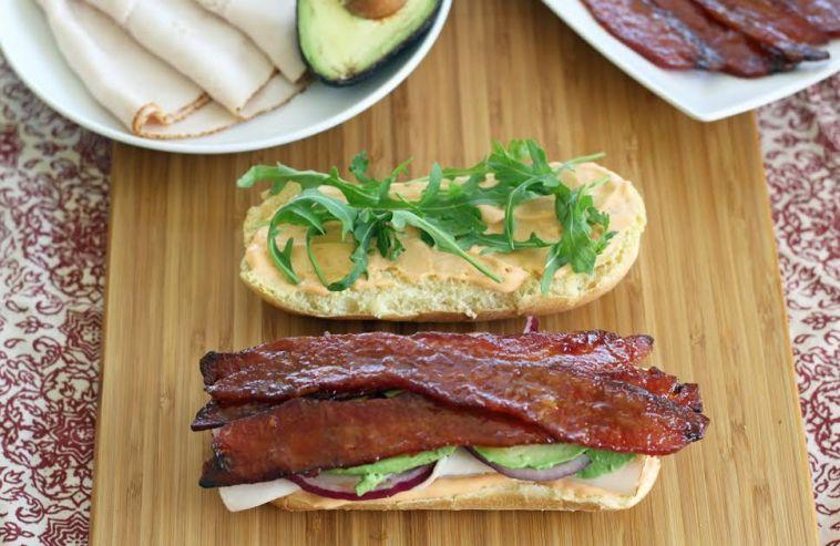 Club Sandwich with Sweet and Spicy Glazed Bacon | artfuldishes.com
