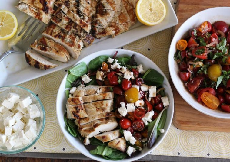 Skinny Grilled Lemon Garlic Chicken with Marinated Tomato Salad | artfuldishes.com