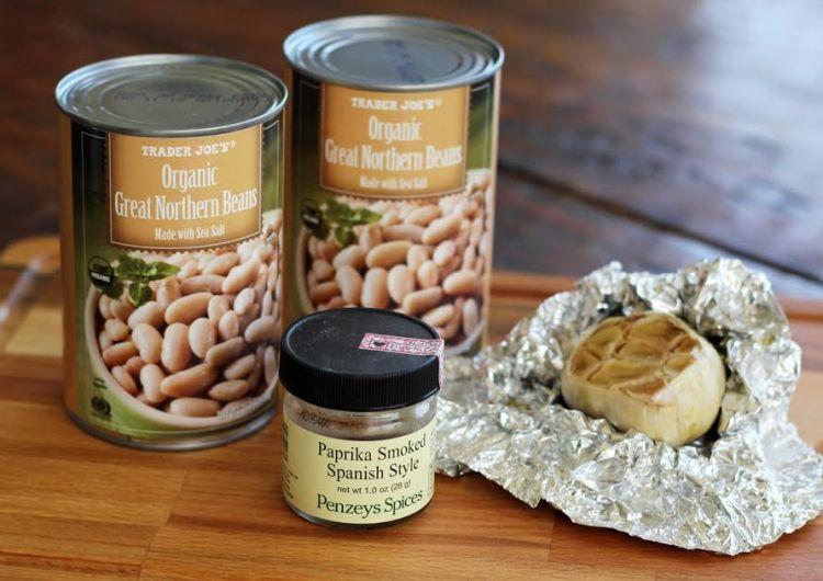 Roasted Garlic White Bean Dip Ingredients with Smoked Paprika | artfuldishes.com