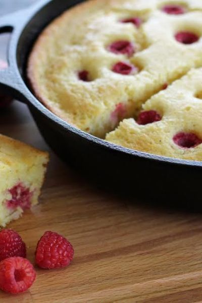 Cast Iron Raspberry Cornmeal Cake