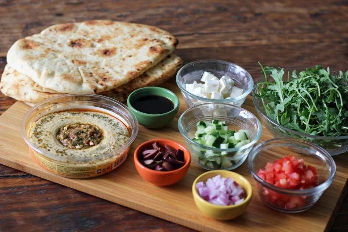Ingredients for Greek Salad Naan Pizzas Hummus Veggies   www.artfuldishes.com