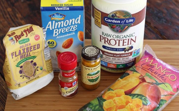 Mango Chai Protein Smoothie Ingredients Almond Milk Flaxseed Turmeric | www.artfuldishes.com