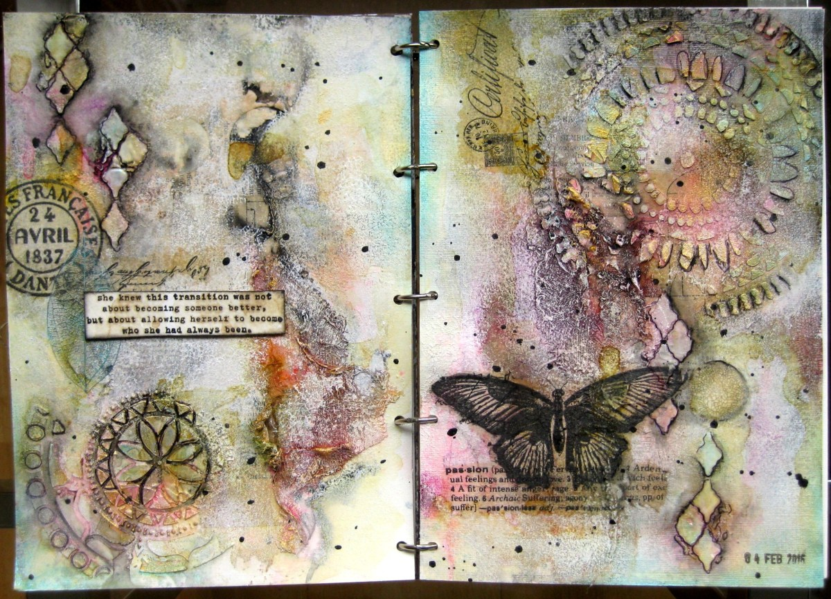 "Art journal spread ""Who She Had Always Been"""