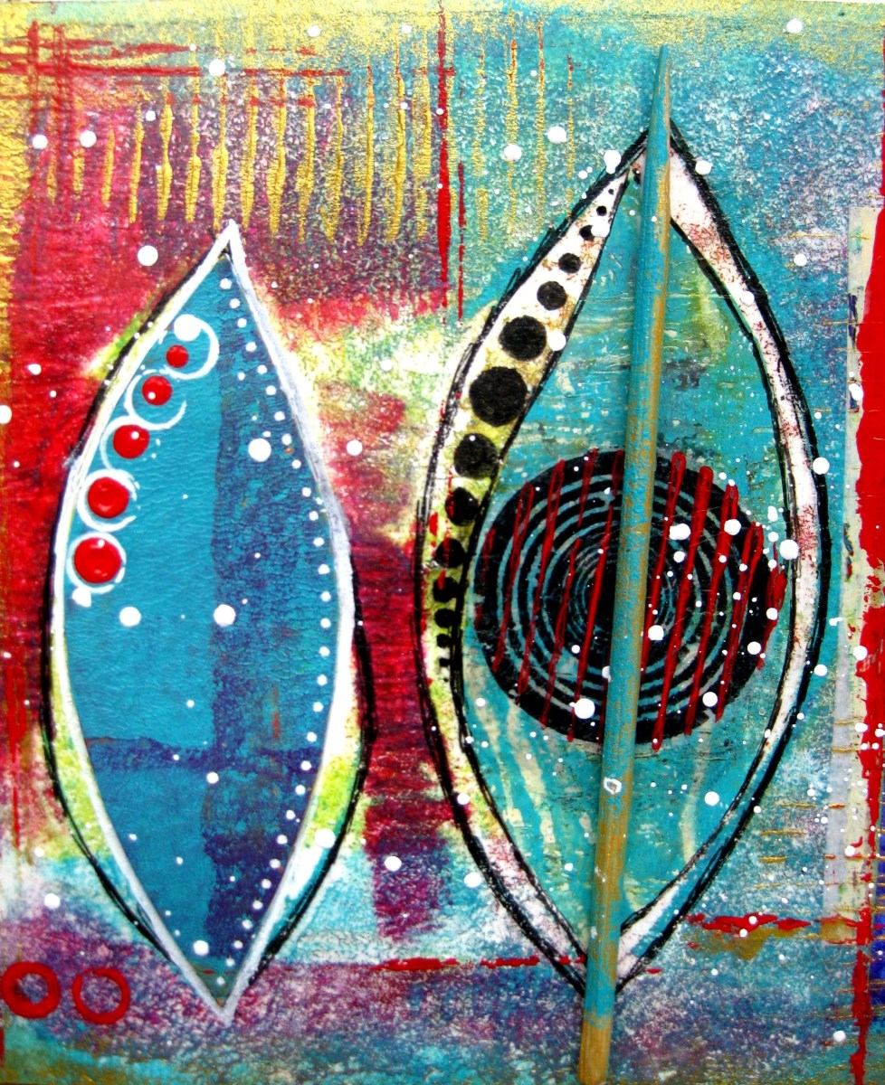 More gelli plate printing art journal page