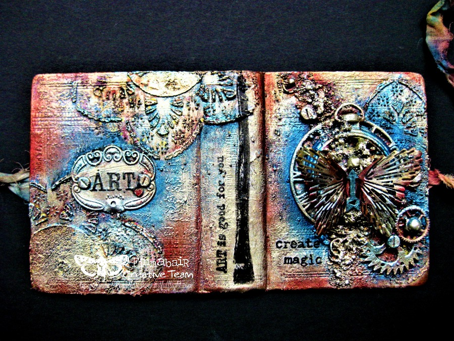 """Create magic"" - mixed media mini art journal cover"