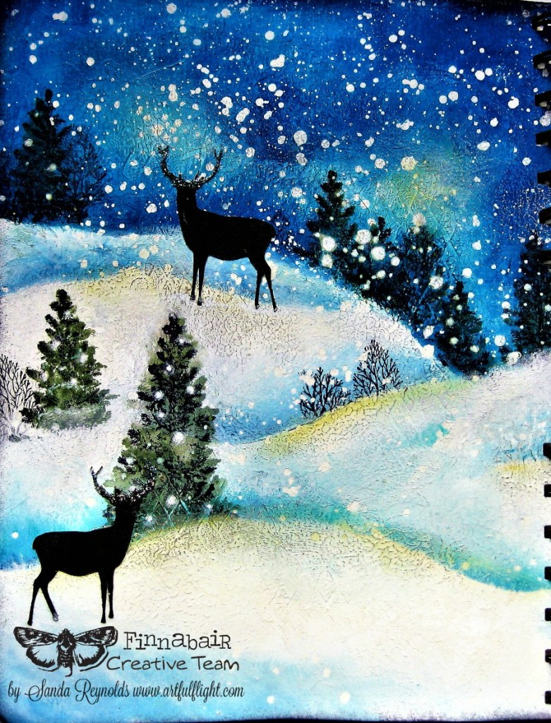 """Christmas Magic"" – mixed media art journal spread for Finnabair CT"