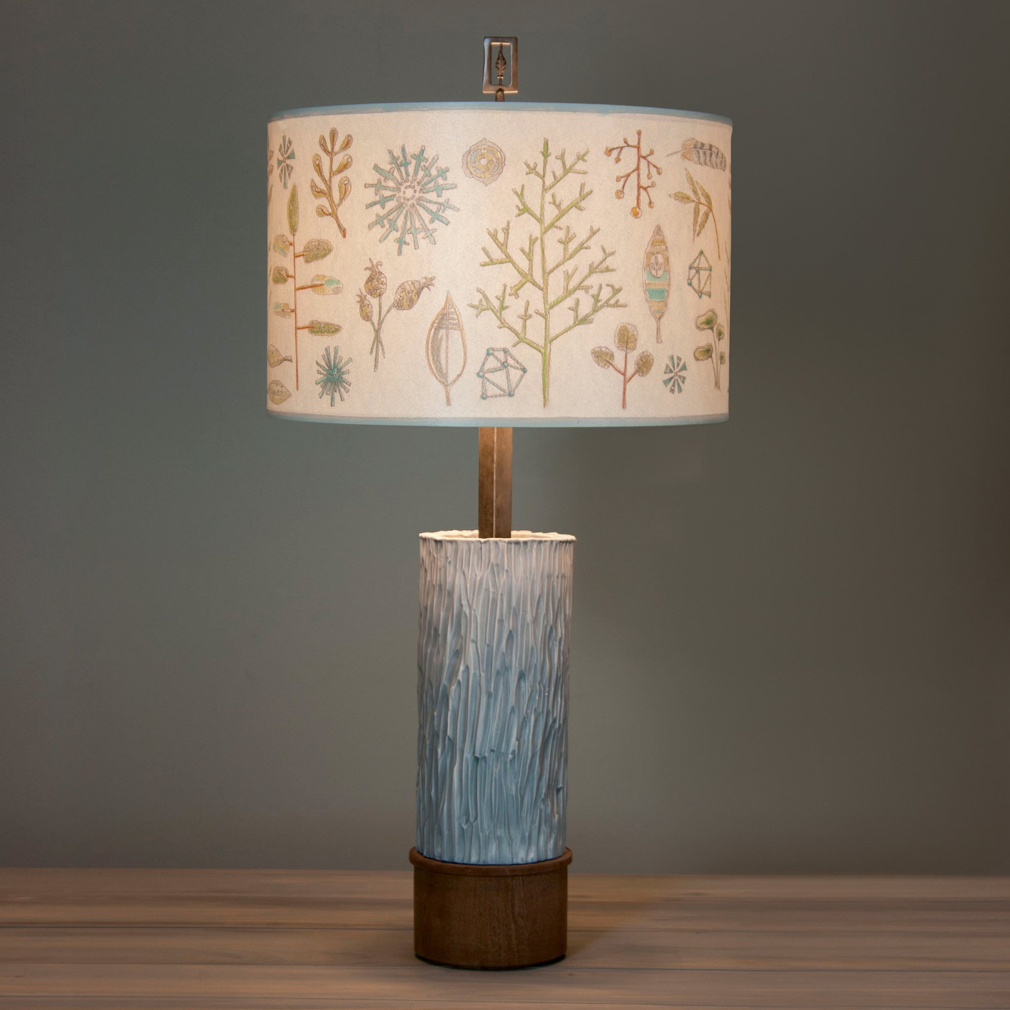 hight resolution of ceramic and wood table lamp with large drum shade in field chart