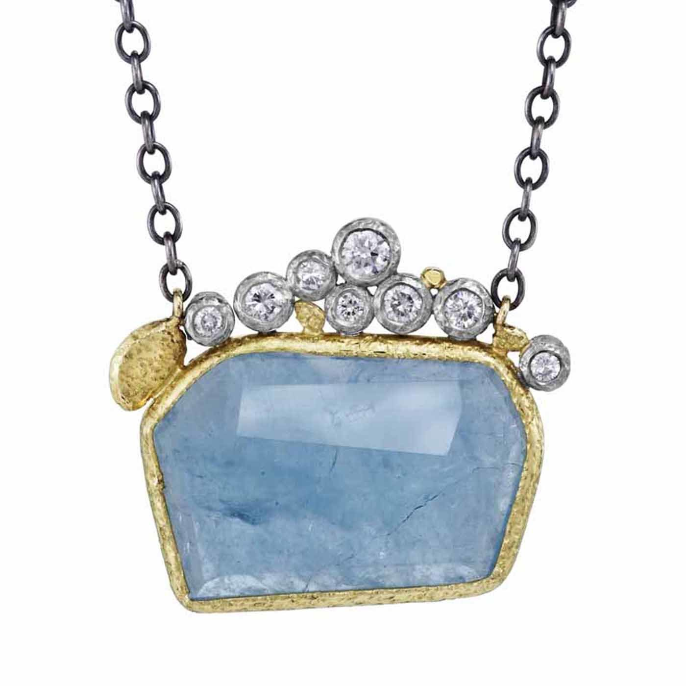 hanging chair rona sciatic nerve cushion geometric aquamarine pendant by fisher gold silver