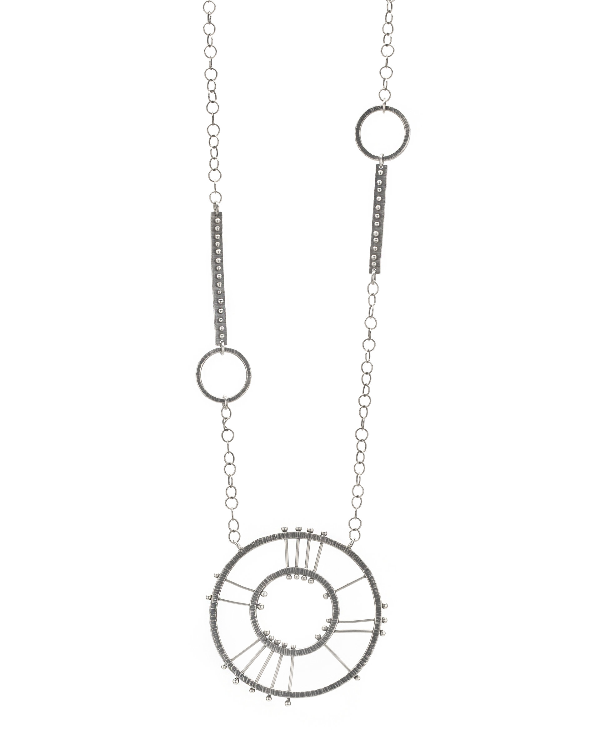 Double Circle Radial Necklace by Nikki Nation (Silver