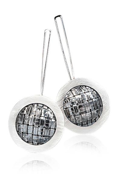 Mod Weave Earrings by Linda Bernasconi (Silver Earrings