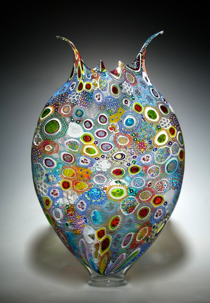 Mixed Murrini Foglio By David Patchen Art Glass Vessel