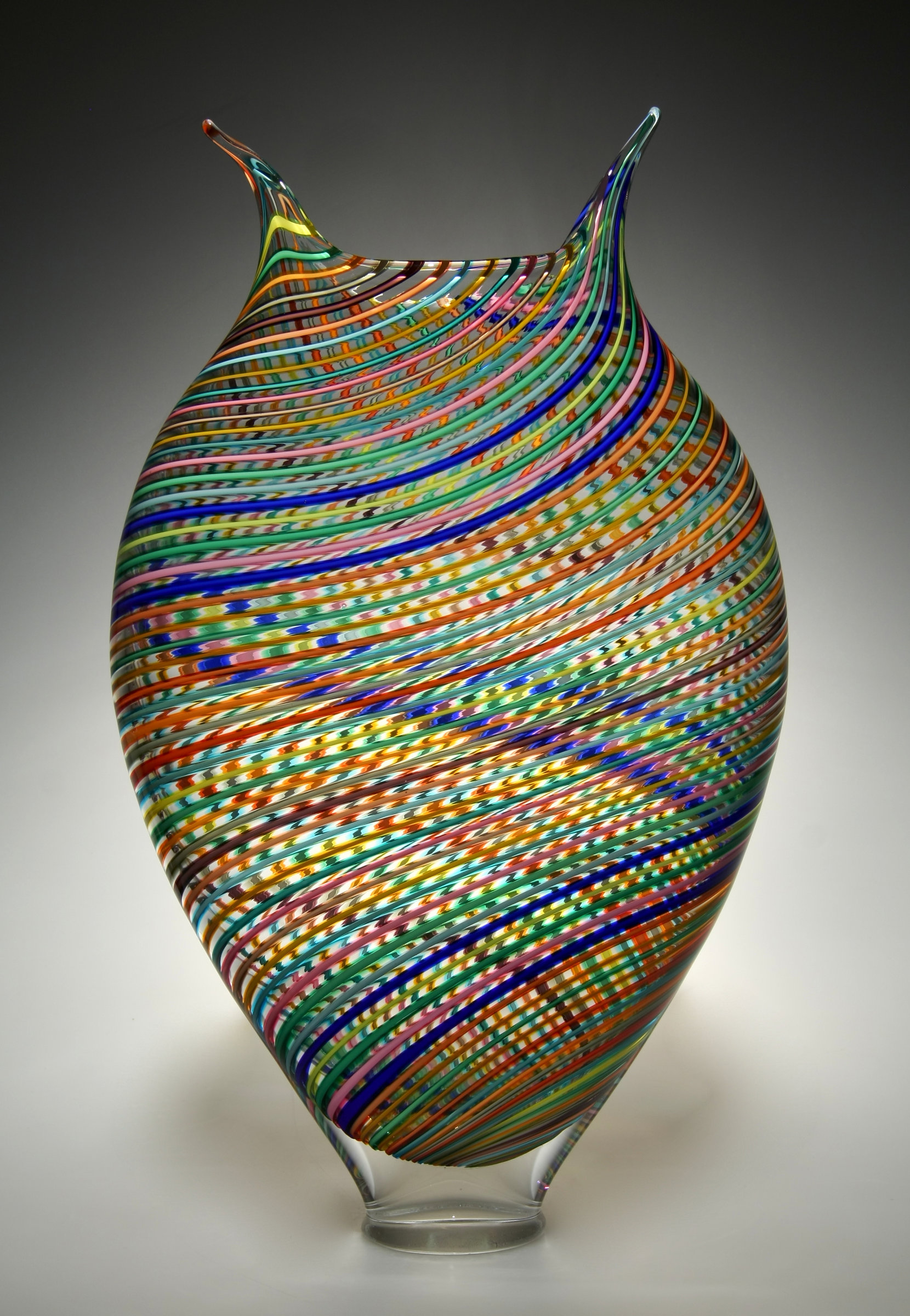Multicolored Foglio By David Patchen Art Glass Vessel
