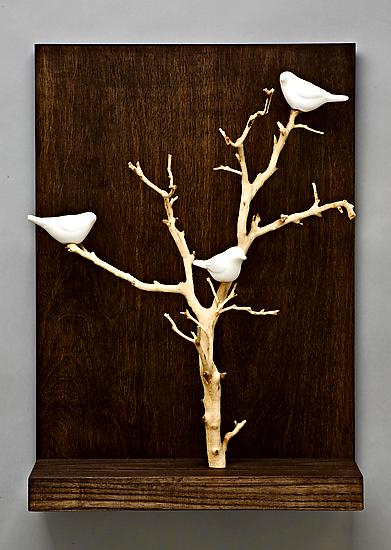 Birds In Trees Small By Chris Stiles Ceramic Amp Wood Wall Sculpture Artful Home