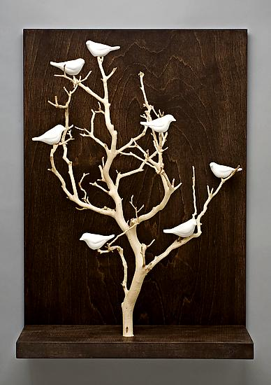 Birds in Trees  Medium by Chris Stiles Ceramic  Wood Wall Sculpture  Artful Home