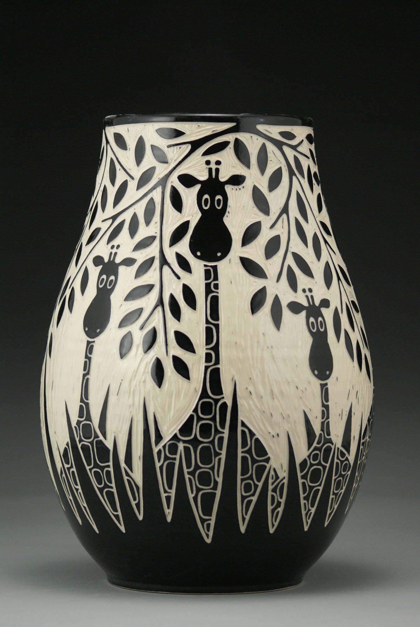 Giraffes In The Wild by Jennifer Falter Ceramic Vase