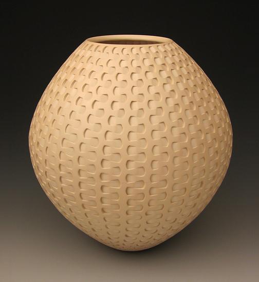 Tan Dovetail Weave by Michael Wisner Ceramic Vessel