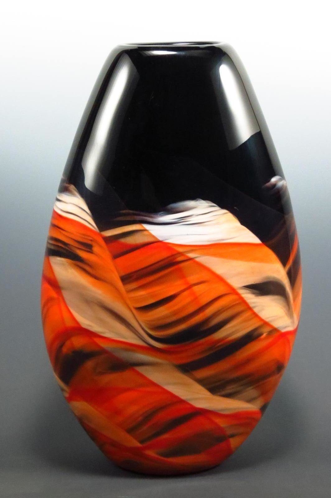 Red Amp Black Teardrop Vase By Mark Rosenbaum Art Glass Vase Artful Home