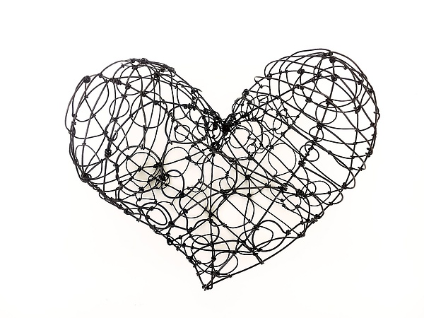 Wire Heart, Wide by Barbara Gilhooly (Metal Wall Sculpture