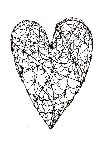 Large Wire Heart by Barbara Gilhooly (Metal Wall Sculpture