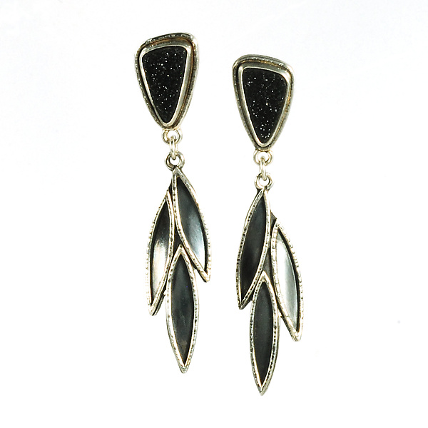 Black Druzy Leaf Drop Earrings by Vickie Hallmark (Silver