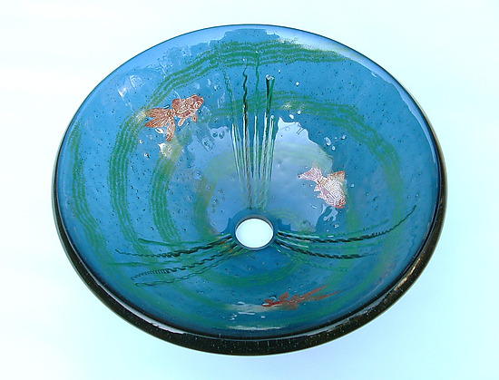 Goldfish Vessel Sink on Steel Blue Glass by Mark Ditzler